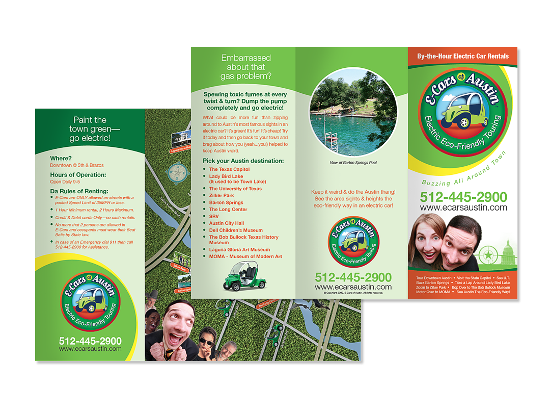 Brochure design for E-Cars of Austin